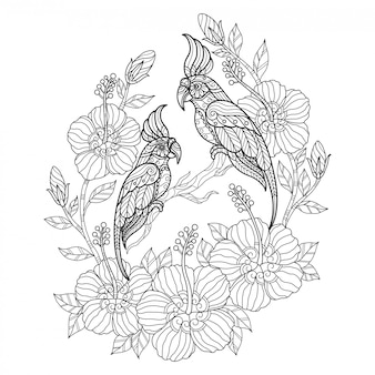 Какаду с цветком. нарисованная рукой иллюстрация эскиза для взрослой книжка-раскраски.