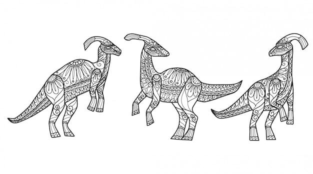 Динозавр. ручной обращается эскиз иллюстрации для взрослых книжка-раскраска