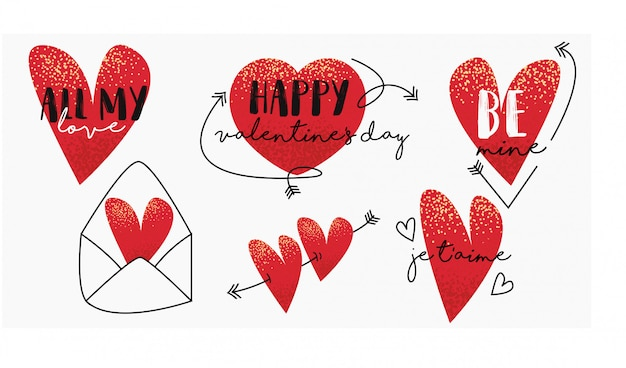 バレンタインデーのラベルとバッジ