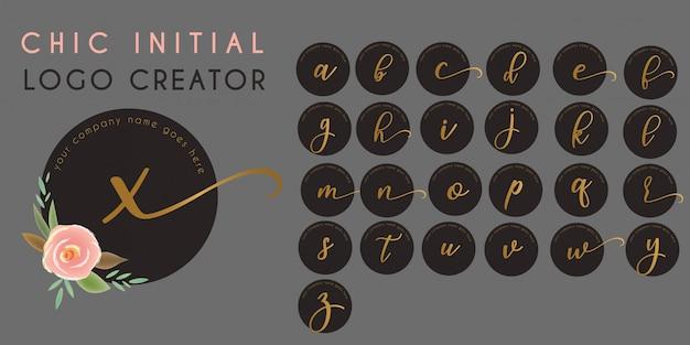 シックな花イニシャルレターのロゴのテンプレート