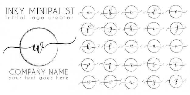 ミニマルな真っ黒な初期ロゴ文字テンプレート