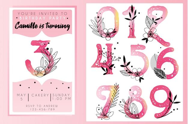 水彩数字で誕生日パーティーの招待状のテンプレート