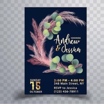ピンクのパンパス草の結婚式の招待カードテンプレート