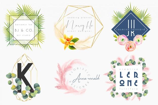 花柄の女性のロゴのテンプレート