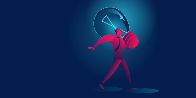 ビジネスマンは巨大な電球ビジネスコンセプトを運ぶ
