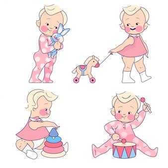 おもちゃのコレクションと赤ちゃん女の子幼児
