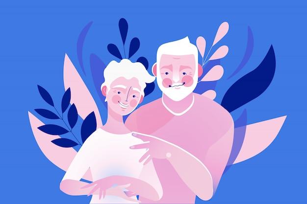 幸せな古い、高齢者、年配のカップルを抱いて