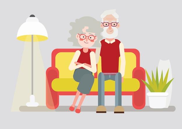 Счастливая старшая пара, бабушка и дедушка
