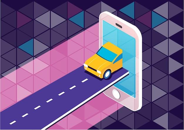タクシーオンラインスマートフォンモバイルアプリのコンセプト