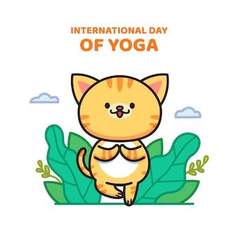 Международный день йоги, кошка занимается йогой