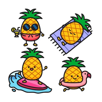 こんにちはパイナップルの男の子と夏の果物