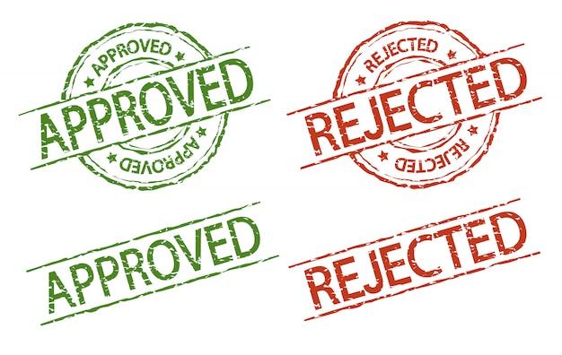 承認および却下されたスタンプ、ベクトル記号ビンテージスタイル
