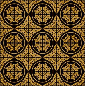 黄金のタイのシームレスパターン