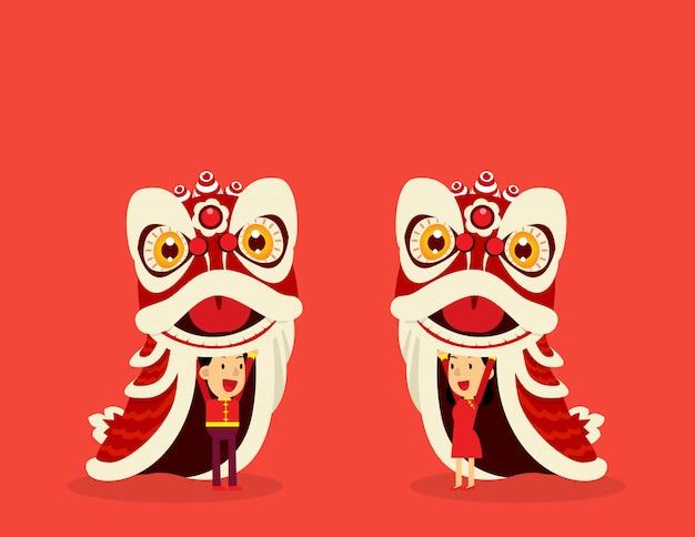 中国の獅子舞。