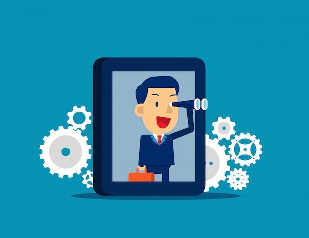 実業家は、スマートフォンで目標を探しています。フラットキッド漫画のキャラクターのスタイル