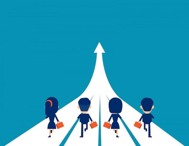 Бизнес команда бежит к успеху