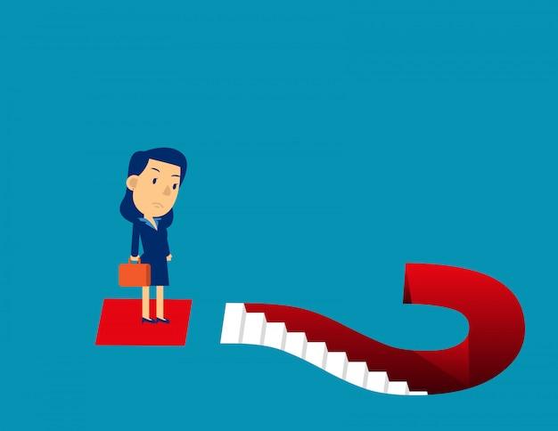 ビジネスの女性と疑問符