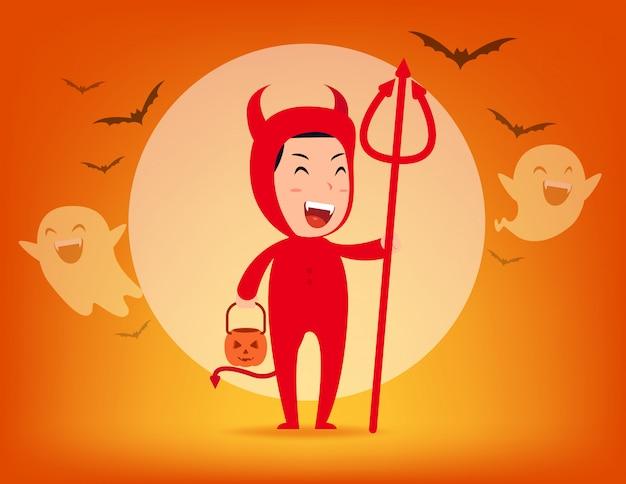 Красный дьявол. концепция костюма хэллоуина