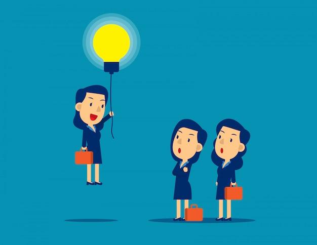 アイデアの電球によって群衆から飛び出します。