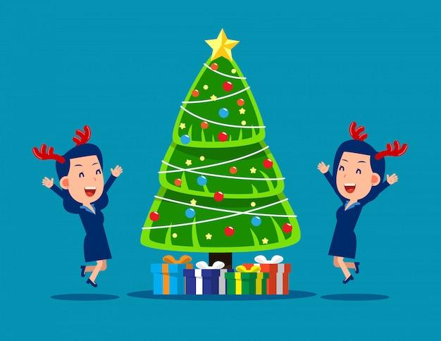Рождественская вечеринка счастливых деловых людей