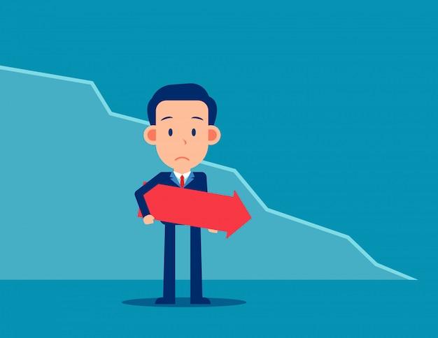 ダウングラフと悲しいビジネス。金融と経済の概念