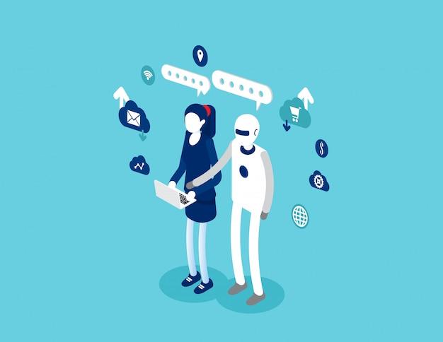 ヒューマンインタラクティブテックインタラクティブ。ロボットと人間の概念