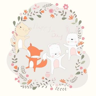 かわいい赤ちゃん動物の漫画は、それは楽しいダンス