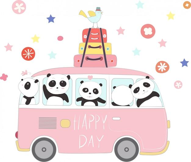 休日に旅行するかわいいパンダの赤ちゃん