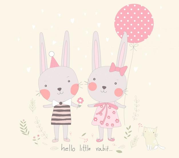バルーン漫画とかわいい赤ちゃんのウサギの恋人