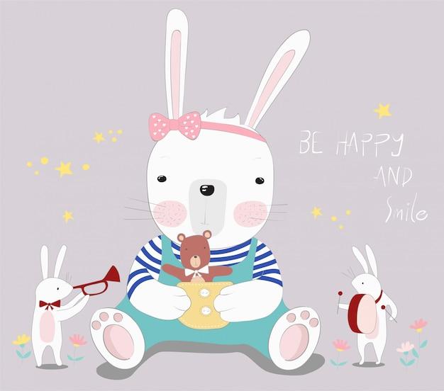 かわいい赤ちゃんのウサギと小さなクマ