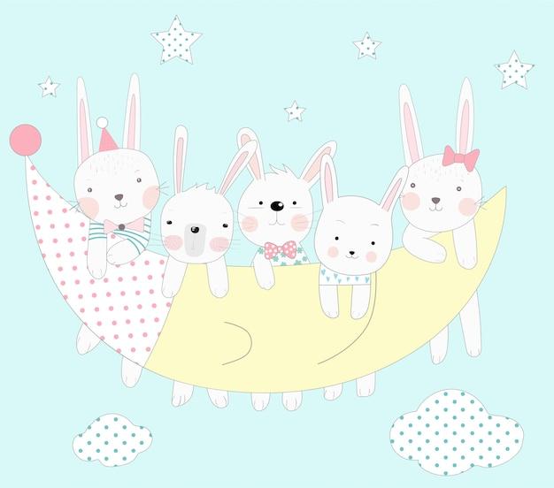 かわいい赤ちゃんのウサギ、月と