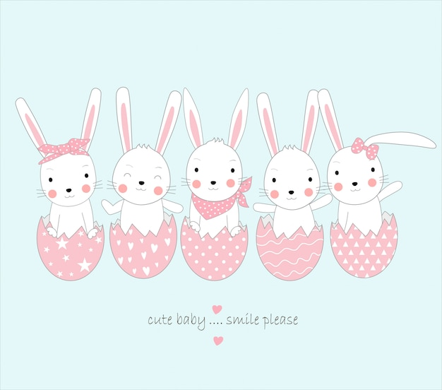 卵とかわいいウサギの赤ちゃん