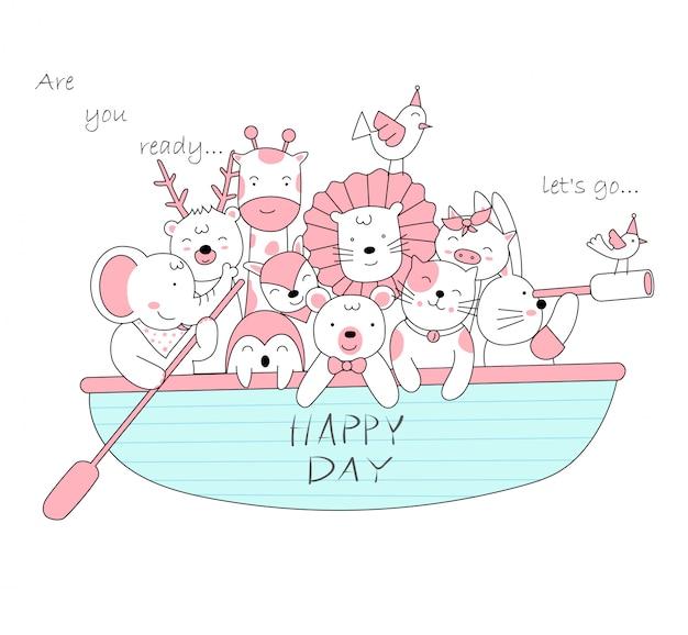 ボートでかわいい赤ちゃん動物。