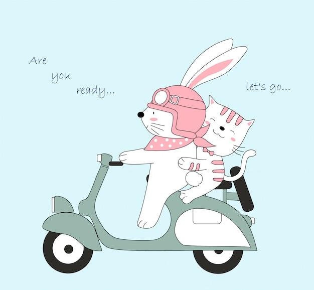 Милый ребенок крыса и кошка путешествовать в отпуске.