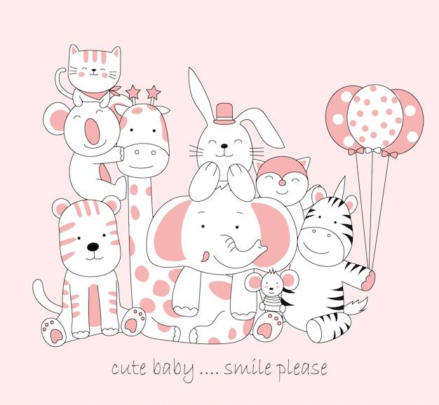 手描きのかわいい赤ちゃん動物。漫画スケッチ動物スタイル