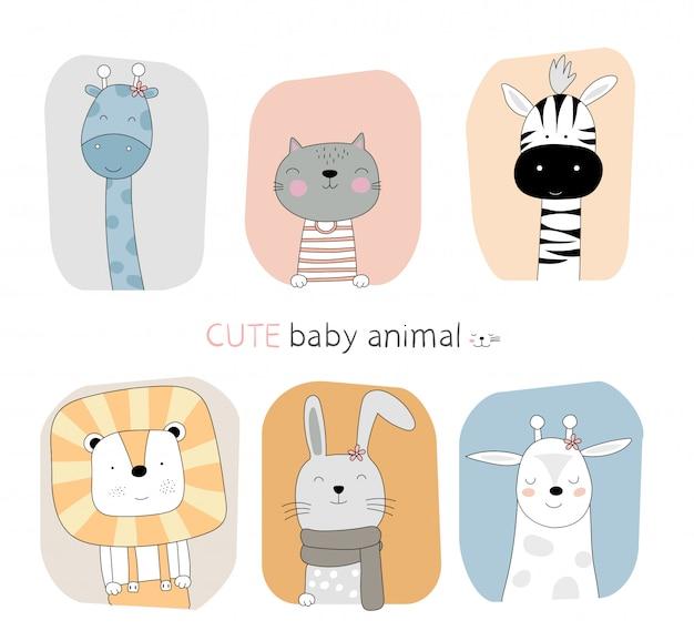 手描きスタイル。漫画スケッチフレーム色の背景を持つかわいい姿勢の赤ちゃん動物