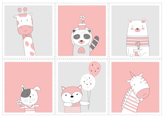 かわいい赤ちゃん動物。漫画スケッチ動物スタイル