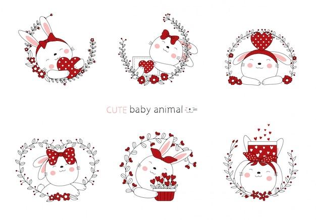 バレンタインデーの手描きスタイル。漫画スケッチ花と素敵なウサギの赤ちゃん動物