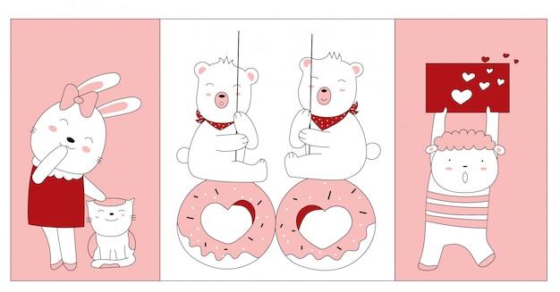 バレンタインデーの手描きスタイル。動物の赤ちゃんの漫画スケッチ