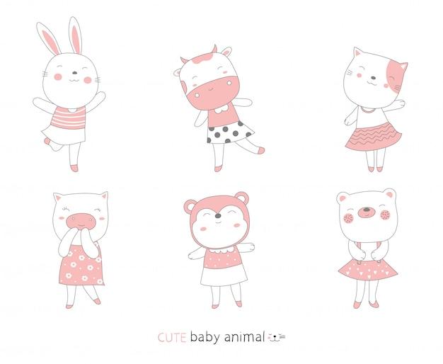 漫画は、かわいい顔の赤ちゃん動物をスケッチします。手描きスタイル。