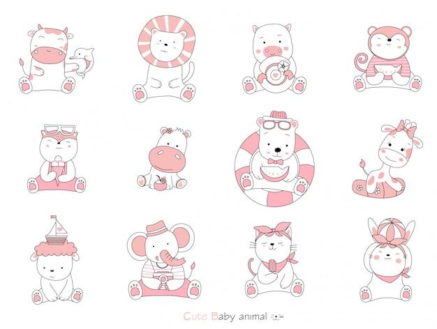 Установите мультипликационный персонаж милых животных на белом фоне. рисованный стиль