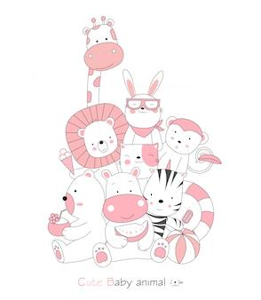 Ручной обращается стиль. мультфильм эскиз милой осанки маленьких животных