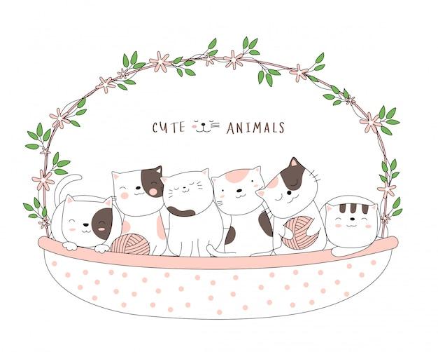 漫画は、フラワーバスケットでかわいい赤ちゃん猫動物をスケッチします。手描きスタイル。