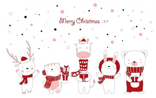 かわいい動物漫画とギフトボックスのクリスマスデザイン。手描き漫画のスタイル