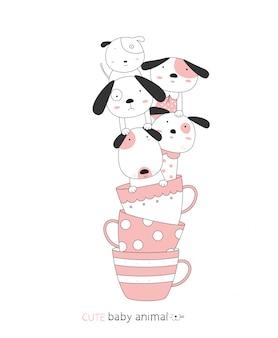 漫画は、カップでかわいい犬の赤ちゃん動物をスケッチします。手描きスタイル。