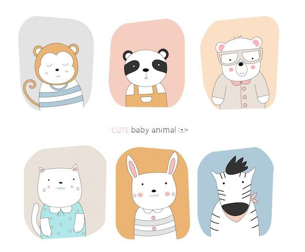 漫画は、フレームの色の背景を持つかわいい姿勢の赤ちゃん動物をスケッチします。手描きスタイル。
