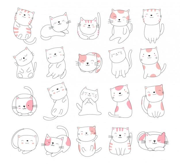 手描きスタイルの白いかわいい猫動物漫画