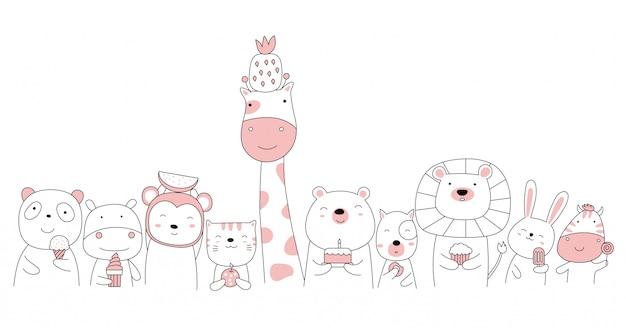 手描きスタイルの白いかわいい動物漫画