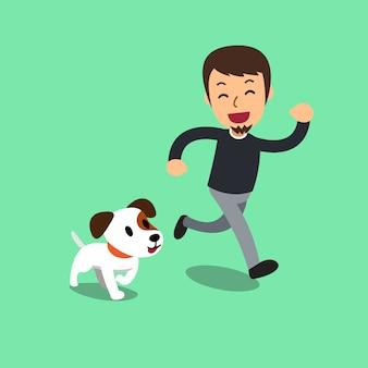 漫画ジャックラッセルテリア犬と男