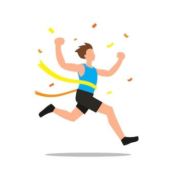 Векторная иллюстрация человека, выигравшего гонку